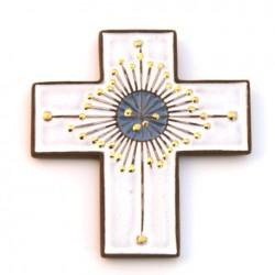 Croix en céramique blanche et dorée