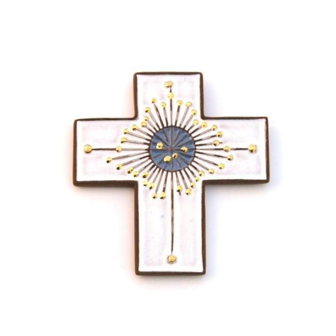 Croix en céramique blanche et or
