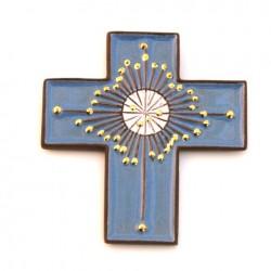 Croix en céramique bleue et or