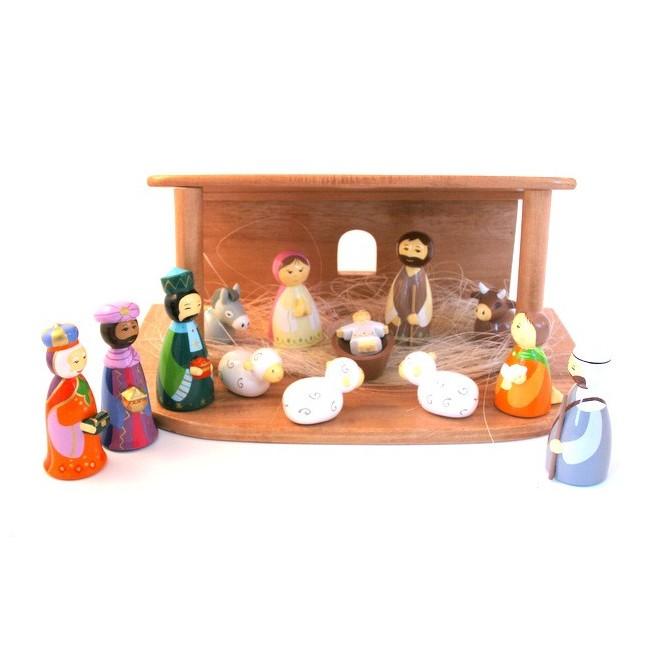 Crèche de Noël en bois - 13 santons bois tourné | Comptoir Religieux