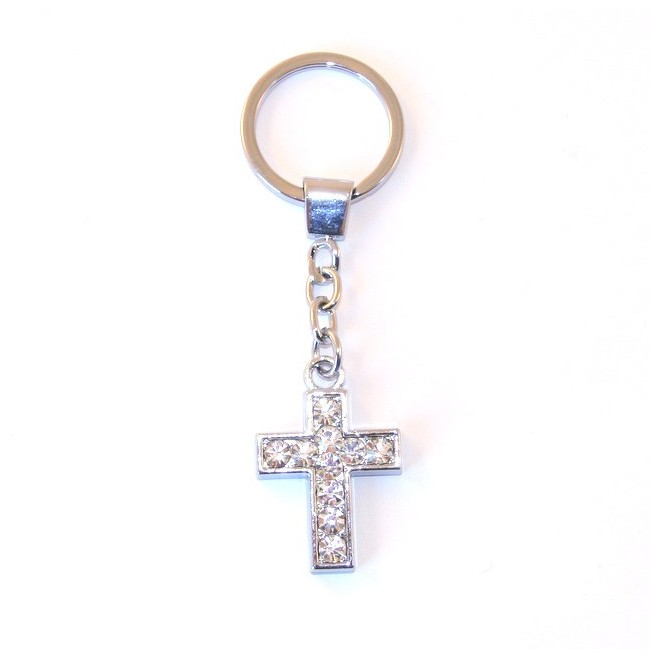 Porte-clés Croix strass brillant