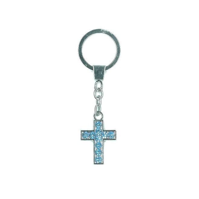 Porte-clés Croix strass bleu