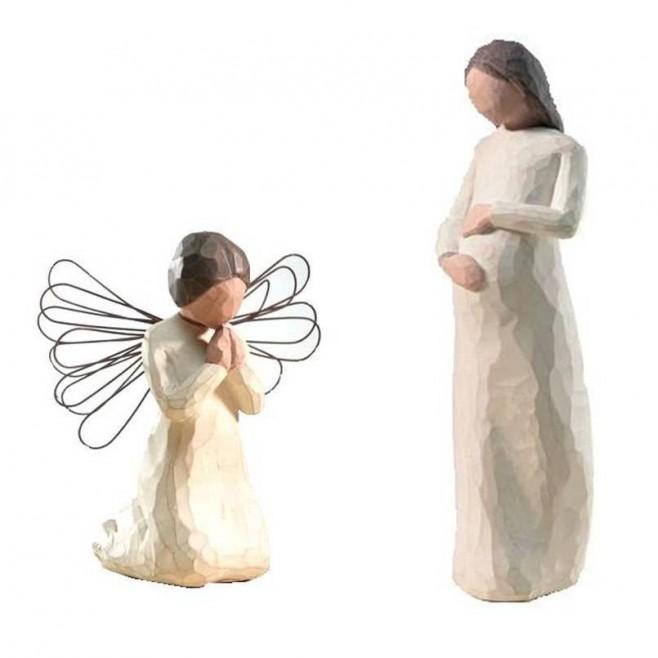 Creche Willow Tree - Attente et ange en prière
