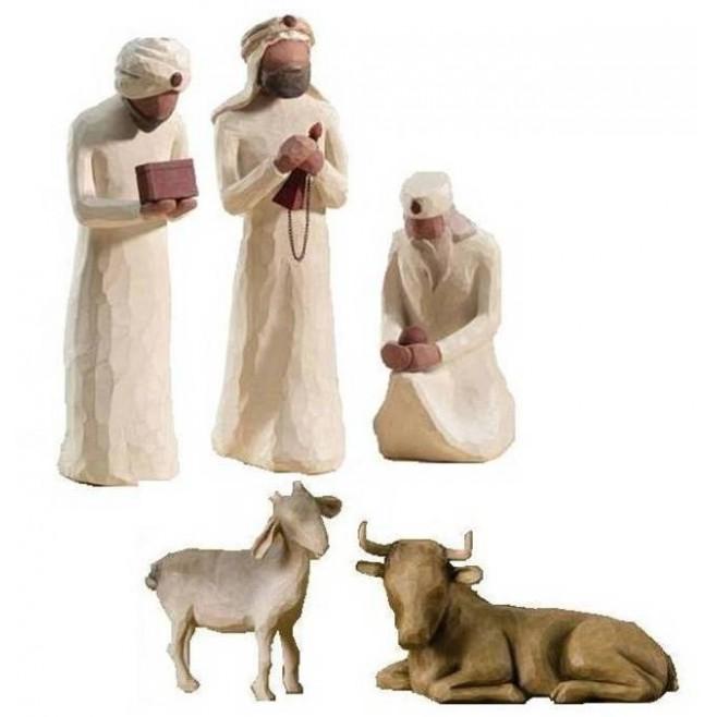 Crèche Willow Tree - Rois mages + chèvre et boeuf