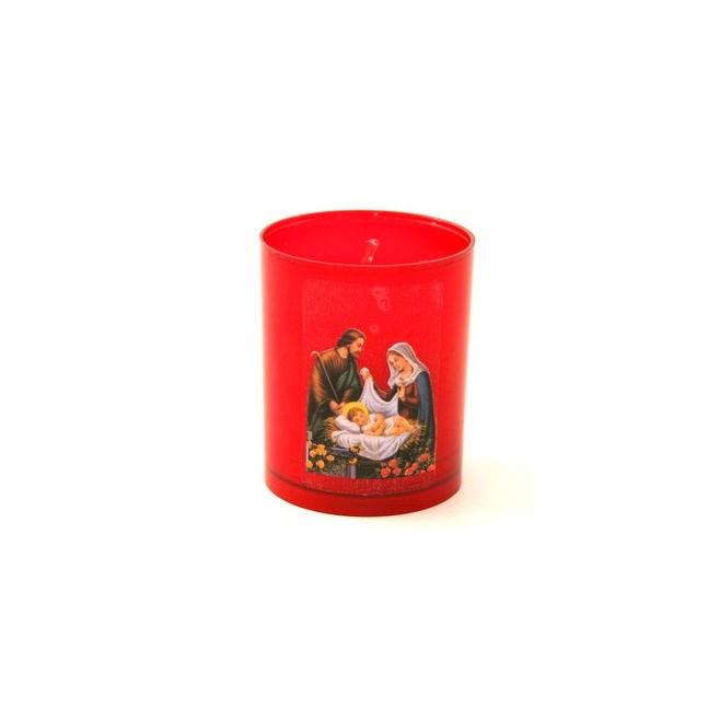 Bougie rouge creche de Noel - Crèche Noël dorée