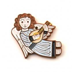 Ange en céramique musicien bleu - guitare