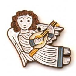 Ange en céramique musicien blanc - guitare