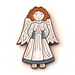 Ange céramique en prière blanc