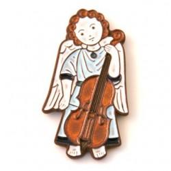 Ange céramique debout musicien bleu - violoncelle