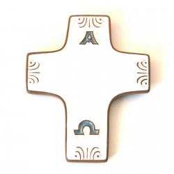 Croix communion en céramique Alpha Oméga