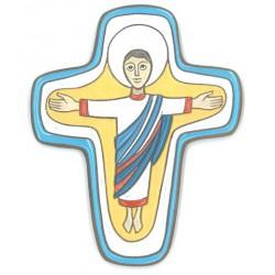 """Cadeau communion Croix céramique """"Seigneur en réssurection"""""""