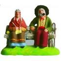 Couple sur le banc - Santon Marcel Carbonel