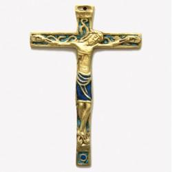 Crucifix en bronze véritable émaillé -16cm