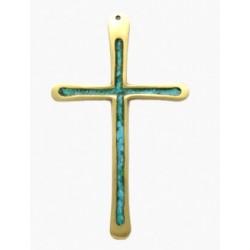 Crucifix en bronze émaillé bleu vert -10cm