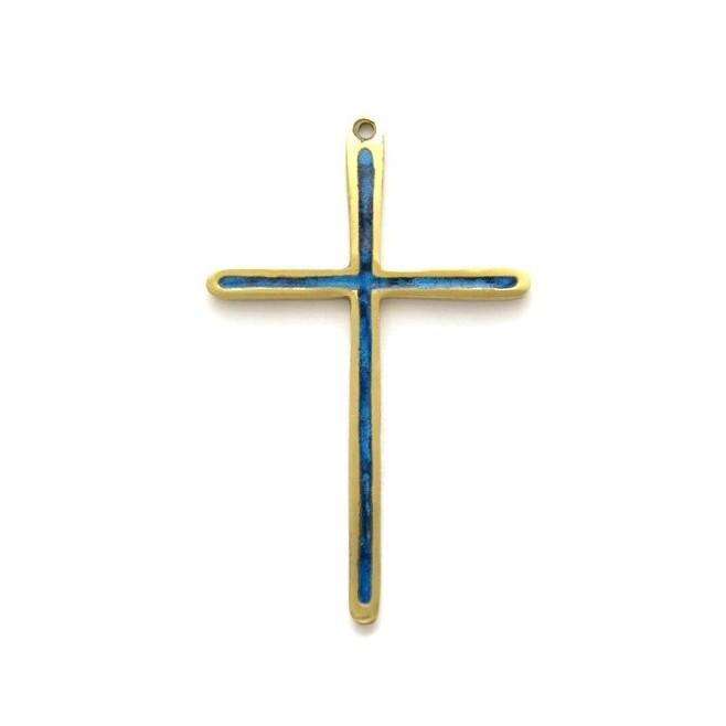 Crucifix en bronze émaillé bleu vert -12 cm