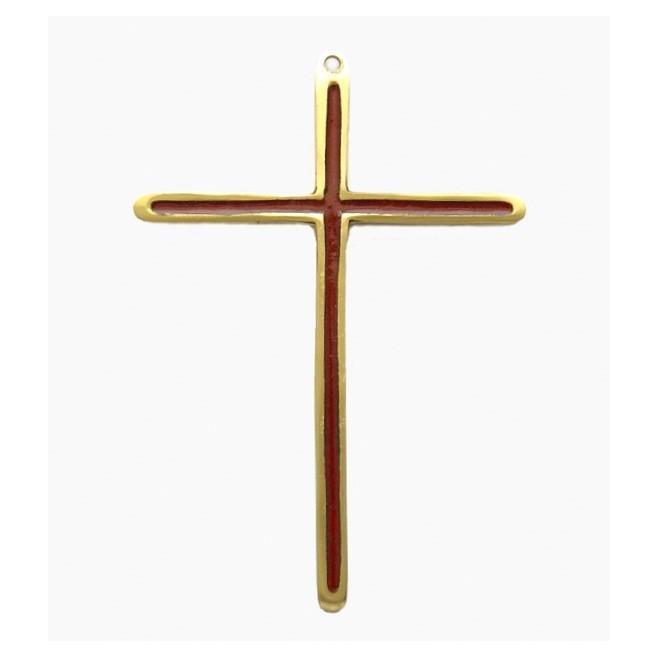 Crucifix en bronze émaillé bleu -14.5 cm