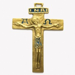 Croix Alpha Oméga en bronze - 13 cm