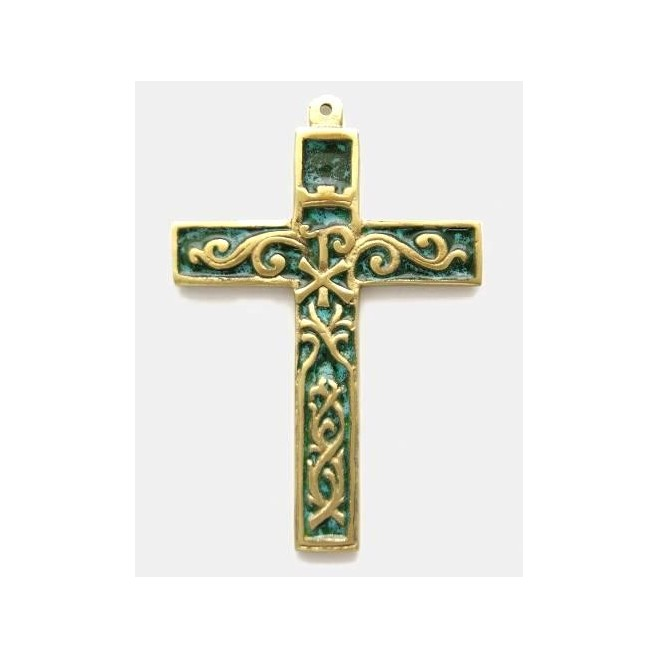 Croix bronze émaillée Chrisme feuillage - 11cm