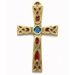 Croix en bronze émaillée - 12 cm