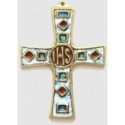 Croix en bronze émaillée IHS - 8.5 cm