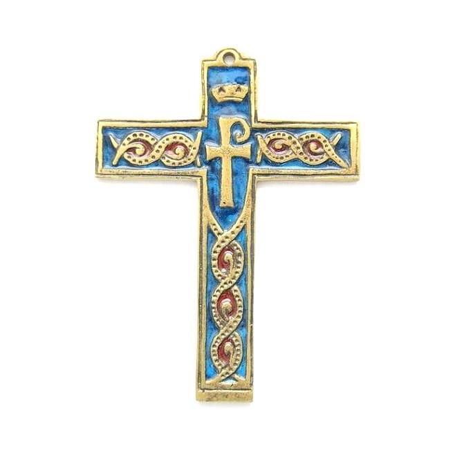 Croix bronze émaillée symbole - 14 cm