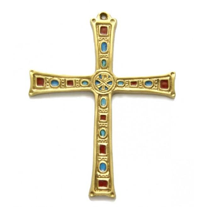 Croix bronze émaillée avec Chrisme - 16 cm
