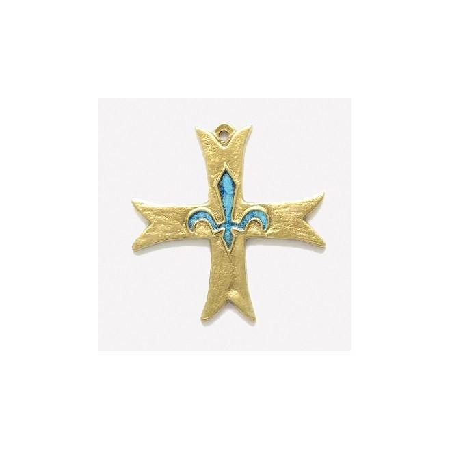 Croix Scout Europe emaillée en bronze - 8 cm
