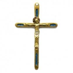 Croix en bronze émaillée avec Christ - 12 cm