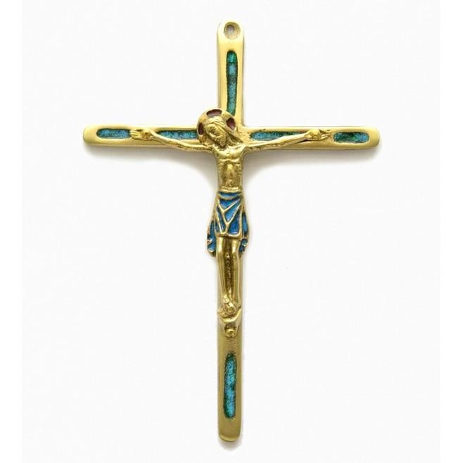 Croix en bronze émaillée avec Christ - 14.5 cm