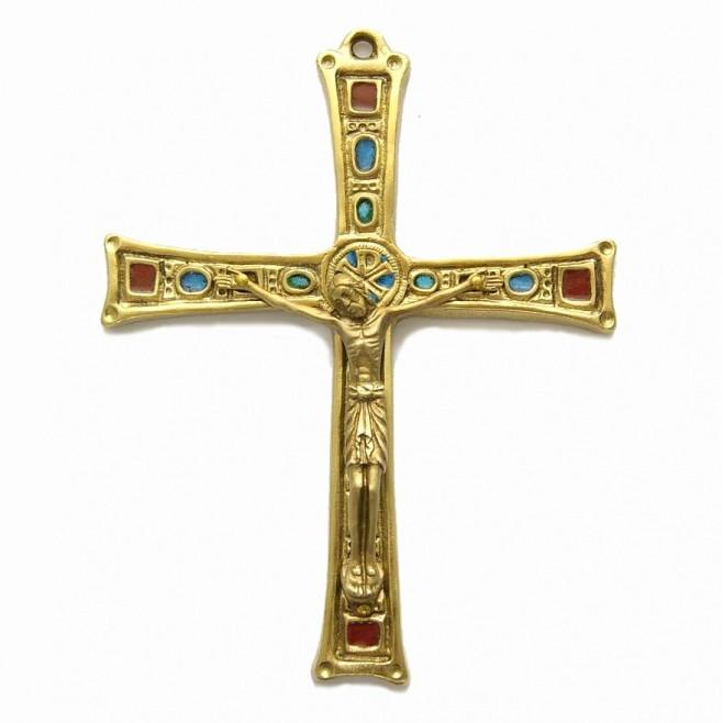 Croix en bronze émaillée avec Christ - 16 cm