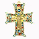 Croix en bronze émaillée avec Christ - 15 cm