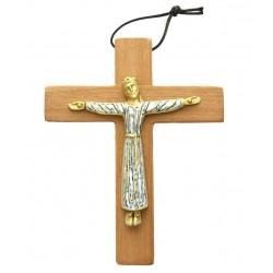 Croix en bois de bubinga Christ émaillée Bronze - 19 cm