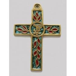 Croix en émaillée en Bronze ble et rouge symbole - 11 cm