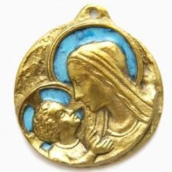 Médaille Vierge à l'enfant en Bronze émaillée