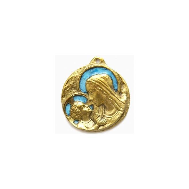 Plaque Vierge à l'enfant en Bronze émaillée