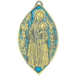 Plaque bronze émaillée forme mandorle Vierge à l'enfant