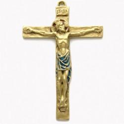 Crucifix en bronze emaillé - 15 cm