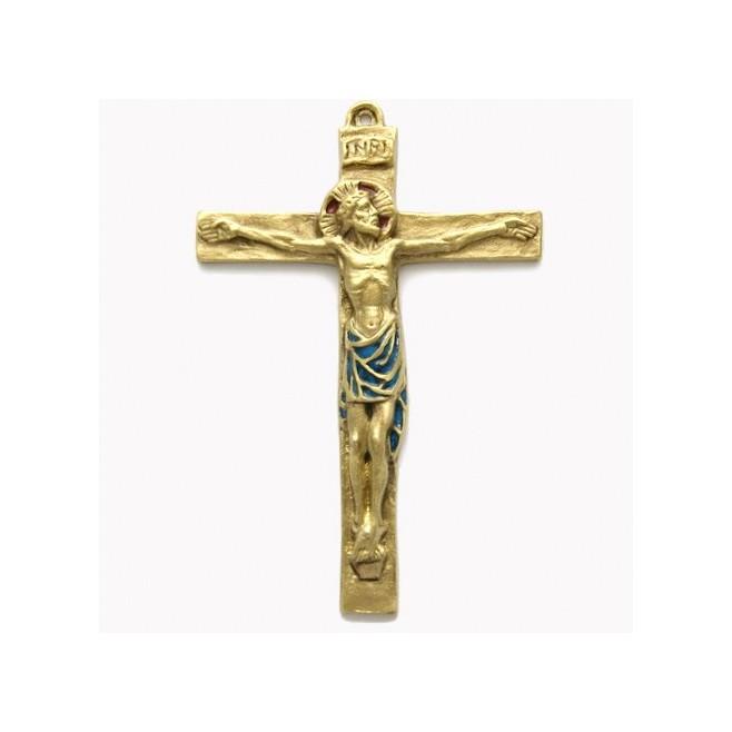 Crucifix en bronze emaillé - 14 cm