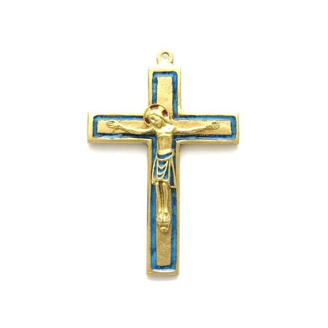 Crucifix en bronze emaillé bleu - 11 cm