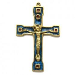 Crucifix en bronze emaux bleus - 15 cm