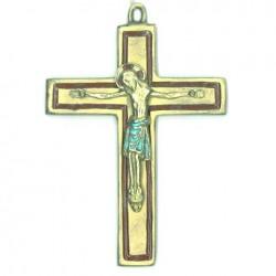 Crucifix en bronze emaillé rouge - 11 cm