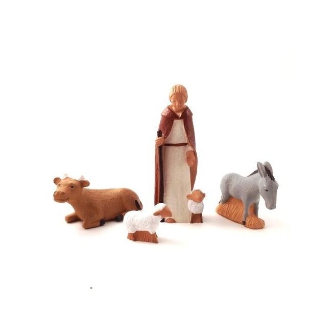 Crèche Yves le Pape - Animaux et berger