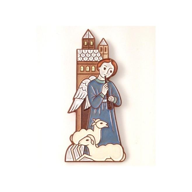 Ange à la flûte et au mouton - crèche de Noël en céramique.