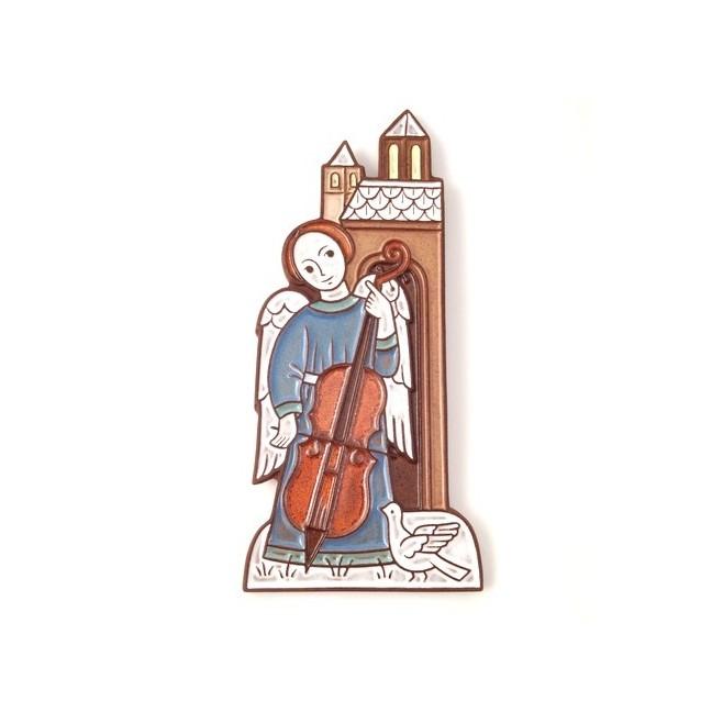 Ange au violoncelle et à la colombe- crèche de Noël en céramique.