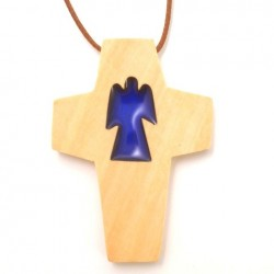 Croix de cou en olivier - ange bleu