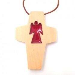 Croix de cou en olivier - ange rouge
