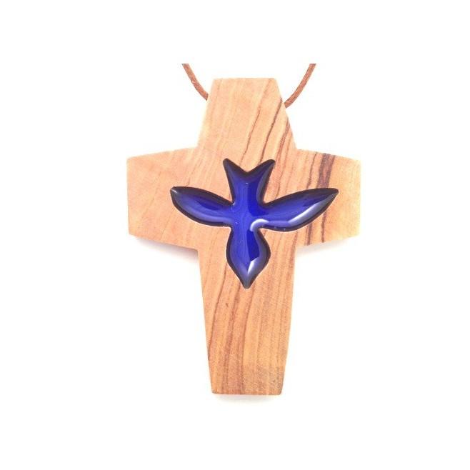Croix de cou en olivier - Colombe bleu