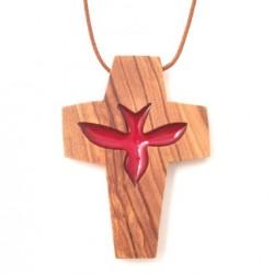 Croix de cou en olivier - Colombe rouge