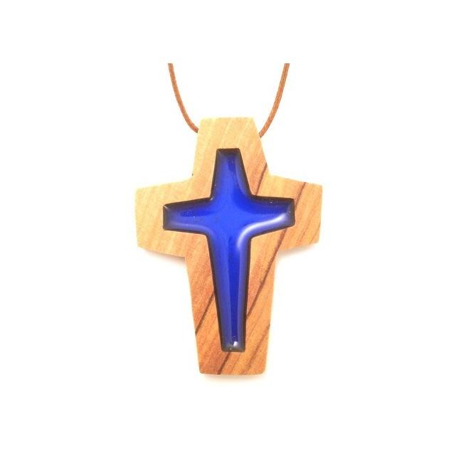Croix de cou en olivier - Croix bleue
