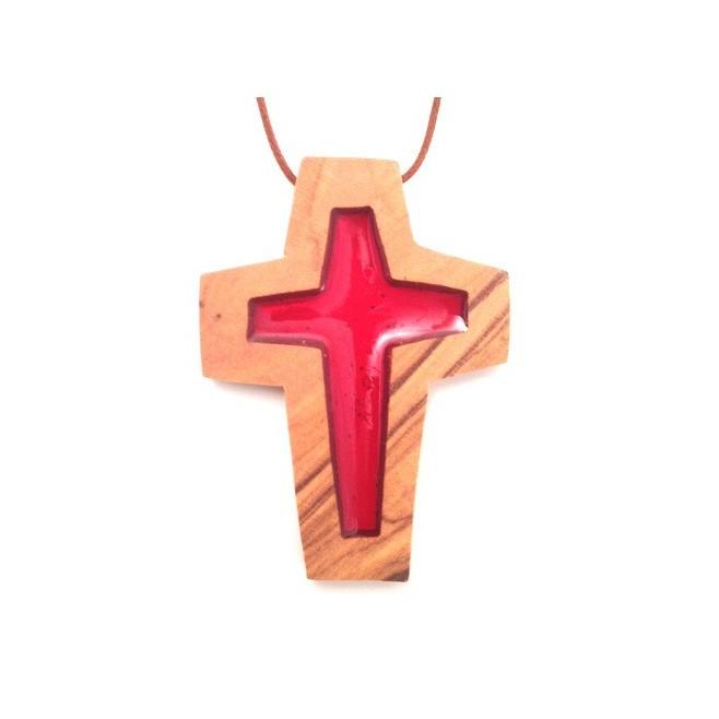 Croix de cou en olivier - Croix rouge